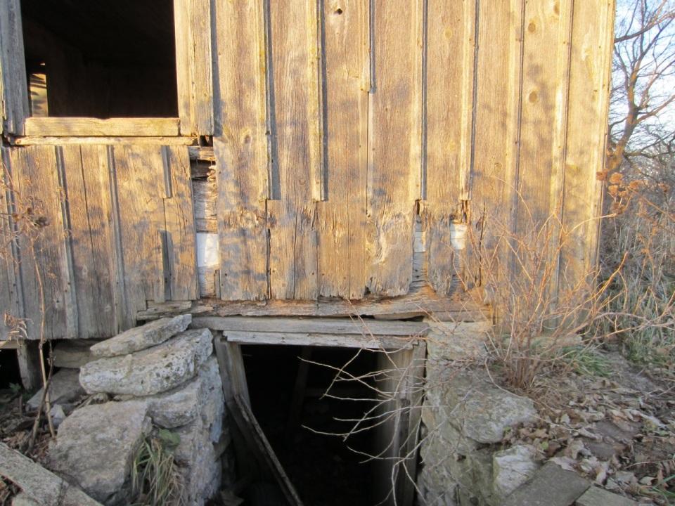 vertical board and batten siding, cellar access
