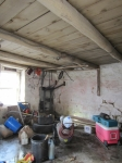 Inside bailing shed
