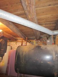 Fuel oil tank, oak floor beams above